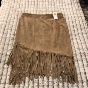NWT--Suede like fringe skirt
